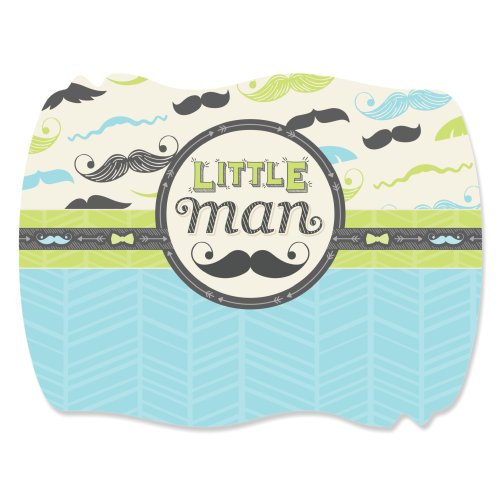 Squiggle Shape (Dashing Little Man Mustache Party - Squiggle Baby Shower or Birthday Party Designer Sticker Labels (1 Sheet of 16))