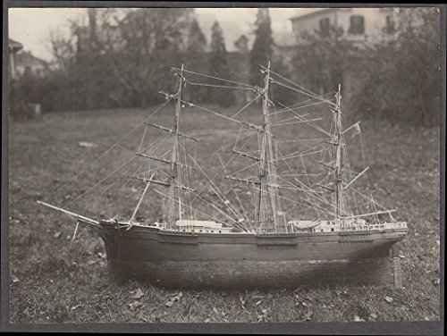 Three Ship Masted (3-masted Sailing Ship Saint John Smith model set of 4 photos by Jacoby 1940s)