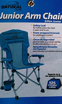 Amazon.com : Natural Gear Junior Folding Sports Arm Chair with Drink Holder and Carry Bag for Kids - Blue Camp Chair : Sports Fan Folding Chairs : Sports & ...