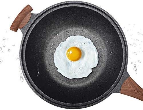 ZXL Poêle à Frire, Spatule Disponible Revêtement antiadhésif Moins d'huile Moins de fumées Poêle Universel Wok Cooker Combo, pour ragoût de Bouillie Frit