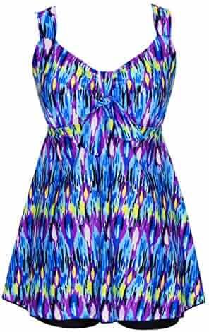9be49e45330d0 DANIFY Women's Plus Size Swimwear Two Piece Swimsuit Pin up Tummy Control  Tankini Swimdress