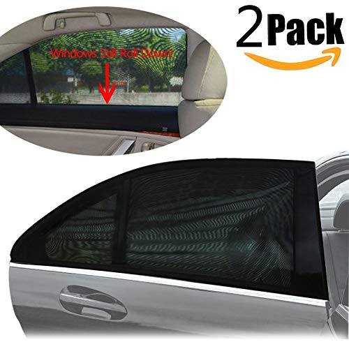 (Car Side Window Sun Shade Universal Fit See-Through for Glare Reduction UV Protection - 2 Pack)