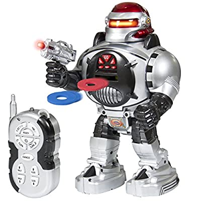 Best Choice Products Remote Walking Control RC Robot Talking Dancing W/ Shooting Fire Disc Action Toys Lights & Sound