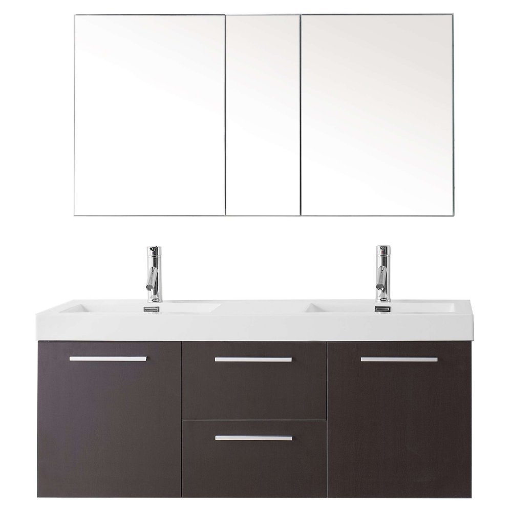 Virtu Usa Midori 54 Inch Double Sink Bathroom Vanity Set In Wenge W