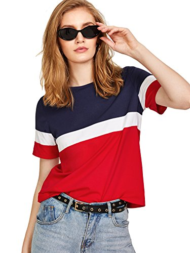 Verdusa Women's Short Sleeve Color Block Loose Tee Shirt Tops Multicolored M ()