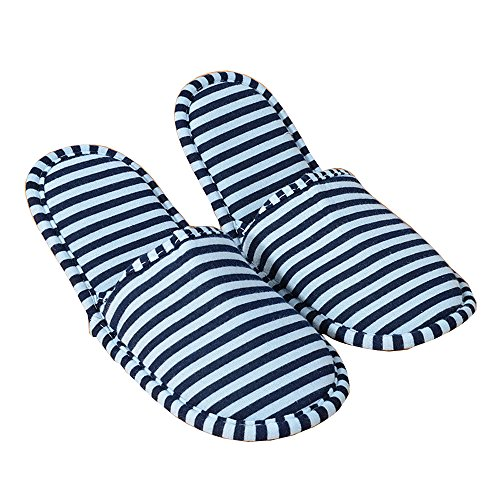 Comfysail Unisexe Pantoufles Pliable Doux Avec Sac Portable Chaussures Antidérapantes Flip Flop En Coton Rembourré Pour Un Hôtel Voyage À Domicile Bleu Grand