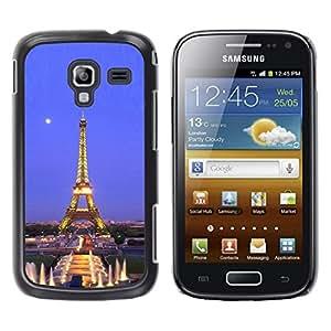 TopCaseStore / la caja del caucho duro de la cubierta de protección de la piel - Architecture Eiffel Tower Moon Night - Samsung Galaxy Ace 2 I8160 Ace II X S7560M