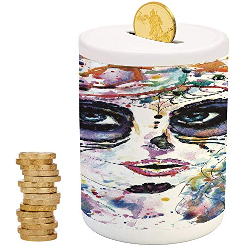 Sugar Skull Decor,Ceramic Coin Bank,Christmas Birthday Gifts for Kids Boys Girls Home Decoration,Halloween Girl with Sugar Skull Makeup Watercolor Painting Style Creepy -