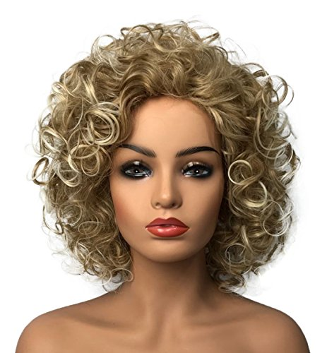(Wiginway Women Wigs Medium Curly Gold Wigs Synthetic Wig Best Natural Wigs For Women 8 Inch)