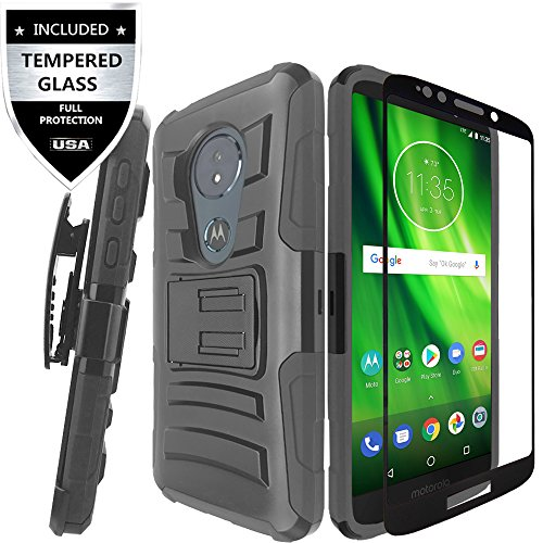 Moto G6 Play Case/Moto G6 Forge Case With Tempered Glass Screen Protector,IDEA LINE Heavy Duty Armor Shock Proof Dual Layer Holster Locking Belt Swivel Clip For (MOTO G Play 6th Gen) - Black