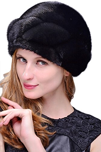 Easting Whole Set of Mink Fur Hat For Women New Designer (Black)