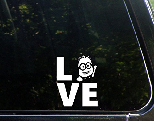 LOVE Minion - 3 3/4x 4 1/2 - Vinyl Die Cut Decal / Bumper Sticker For Windows, Trucks, Cars, Laptops, Macbooks, Etc.