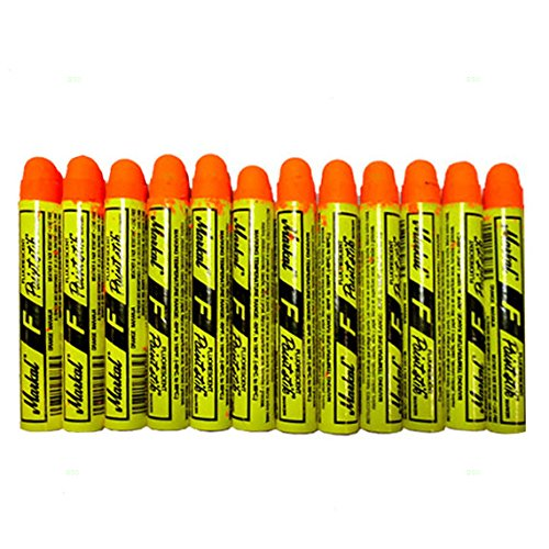 12 pcボックスFlourescentオレンジMarkal F PaintstiksグローUVブラックライトクレヨンメタルガラス木製ゴムの自動タイヤ建設構造材 B07479RG36