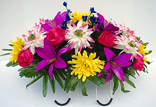 Cemetery Saddle Headstone Decoration with Fuchsia Blue Red and Yellow Spring Flowers for Summer