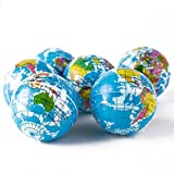 CDELEC_UK 3pcs Map Children Adult Bouncy Gifts Ball Toy Stress Relief Ball PU Foam Earth Globe World 6.3cm Earth Globe Stress Relief Ball Funny Kids Geography World Map Baby Stress Bouncy Ball Baby Early Educational Teaching Tool Ball Globe Toy Ball