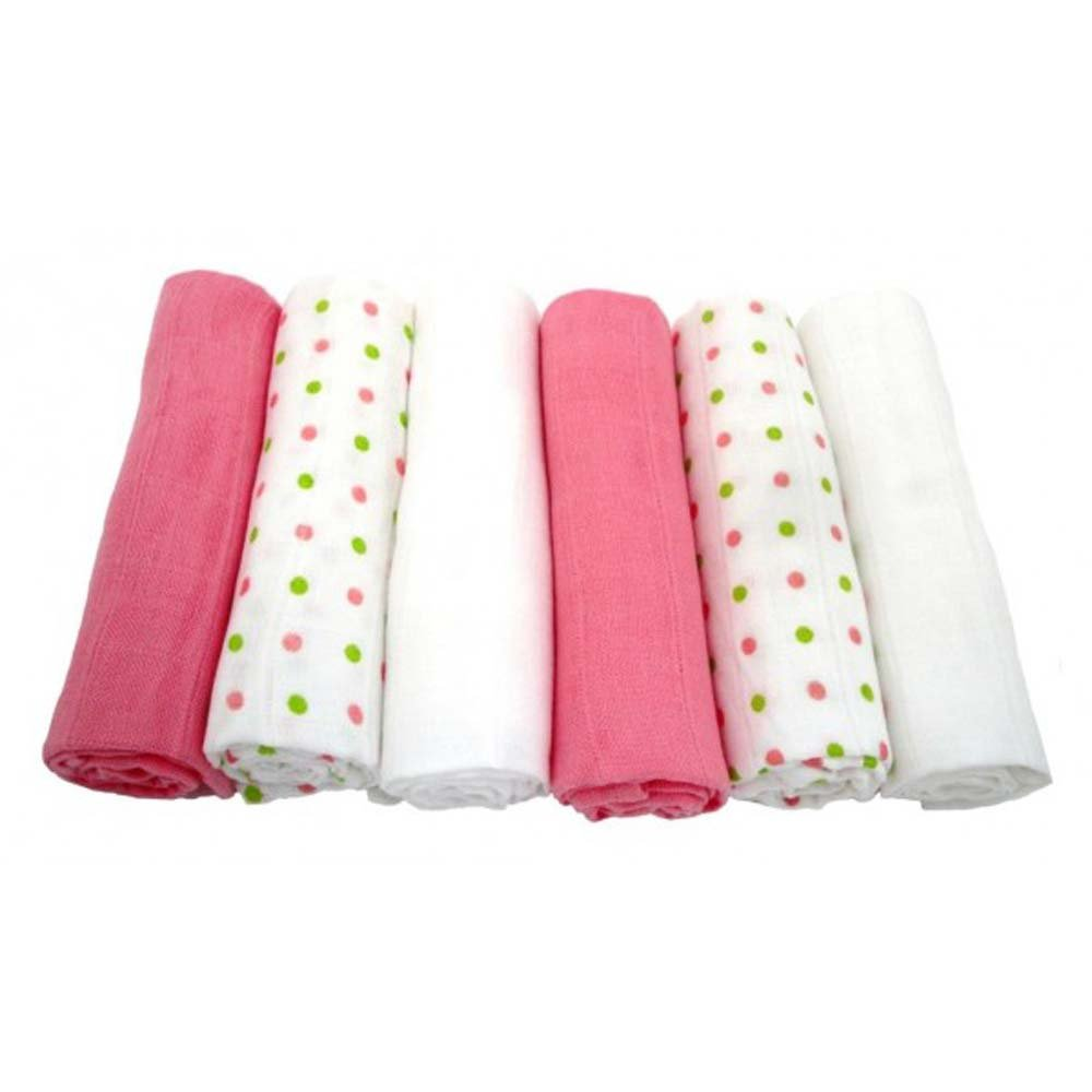 6 Pack of Muslinz Premium Muslin Squares 100% Cotton Supersoft Very High Quality - PINK/WHITE & GREEN SPOTS MerryGoRoundUK /  KATIES PLAYPEN® Pink Spotty x6