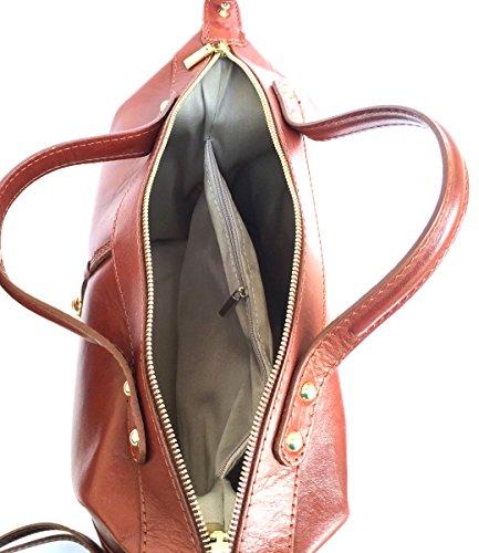 Serena et a Marron main en Superflybags Modèle Véritable Italie Sac brillant Sac Bauletto Fabriqué lisse cuir en wwxz7qpaY