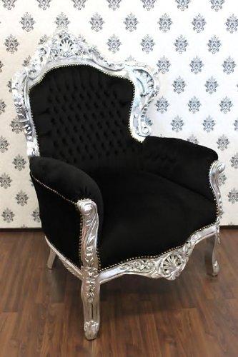 Casa Padrino Barock Sessel King Schwarz Silber Mobel Antik Stil