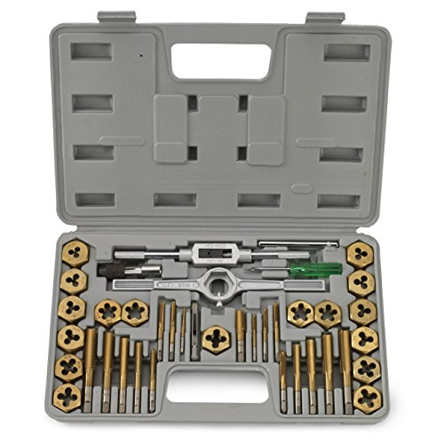 4 Piece Dies Set - J&R Quality Tools 40-Piece Titanium Coated Tap & Hexagon Die Set - SAE