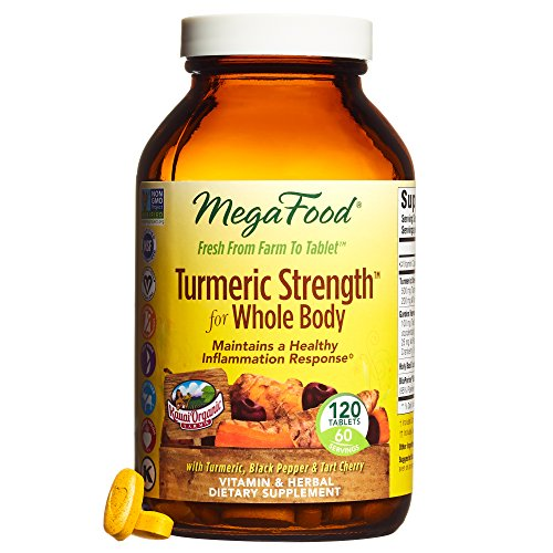 MegaFood - Turmeric Strength for Whole Body, Curcumin Support for a Healthy Inflammation Response with Tart Cherry and Holy Basil Leaf, Vegetarian, Gluten-Free, Non-GMO, 120 Tablets (FFP) (Cleanse 120 Tablets)