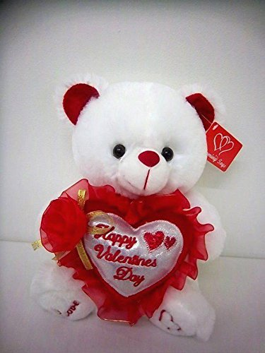 """White 9"""" Musical Valentine Teddy Bear with Rose, Song, and """"Happy Valentine's Day"""" Greeting on Heart"""