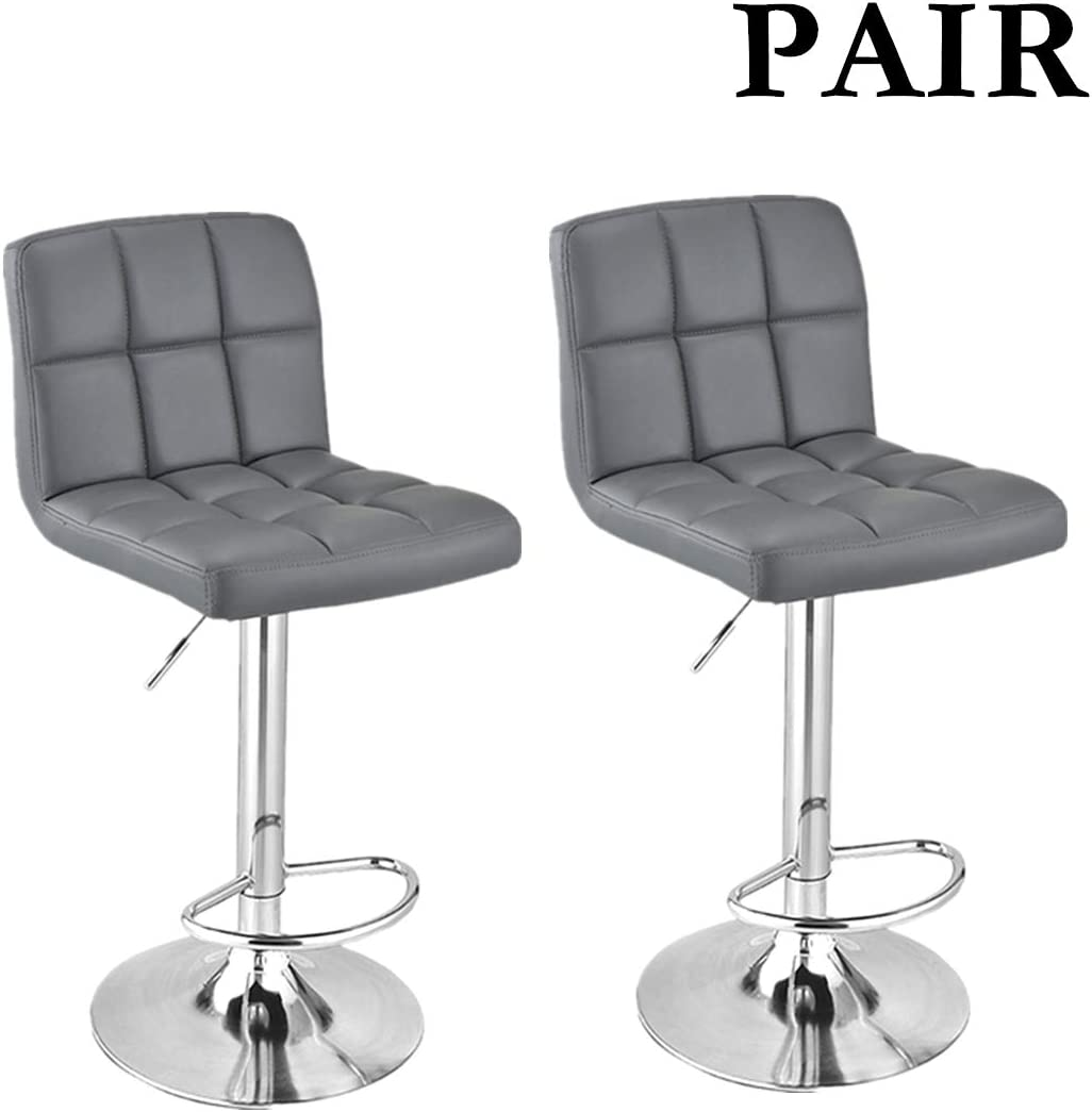 Modern Adjustable Height Swivel Barstool Bar Stool Pub Chair Kitchen Island Counter Set of 2 Amelia  Bar Stool Leather PU Upholstered Stool Chrome Base with Backrest /& Footrest Stool White
