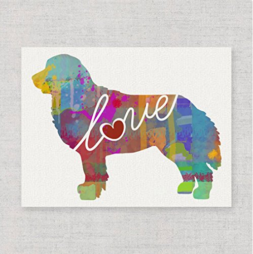 Mountain Dog Watercolor - Bernese Mountain Dog Love - Modern & Whimsical 8x10 Dog Breed Watercolor-Style Wall Art Print / Poster on Fine Art Paper (Unframed)
