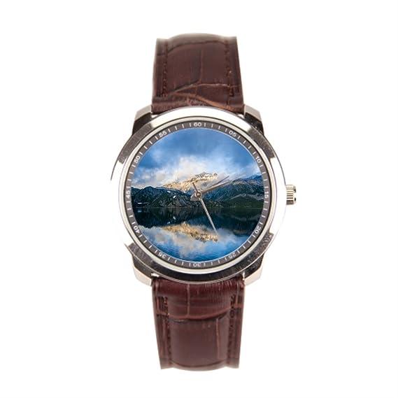 besgirler Simple correa de piel montañas piel banda relojes para hombre reflexión: Amazon.es: Relojes