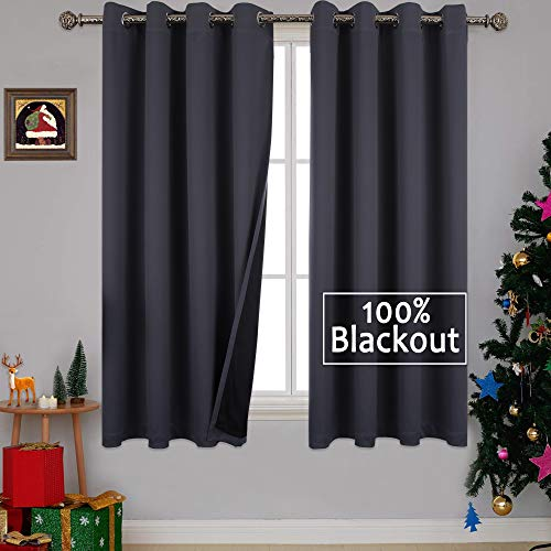 YGO Full Blackout Grey Curtains with Black Liner Thermal Insulated Window Treatment Panels, Soundproof Room Darkening Drapes, Grommet Top(52 x 63 Inch, Set of 2)