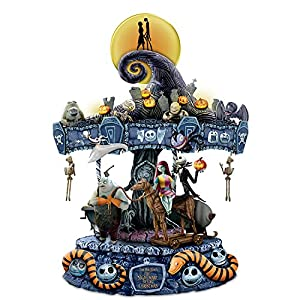 Tim Burton's The Nightmare Before Christmas Rotating Musical Carousel Sculpture: Lights Up by The Bradford Exchange