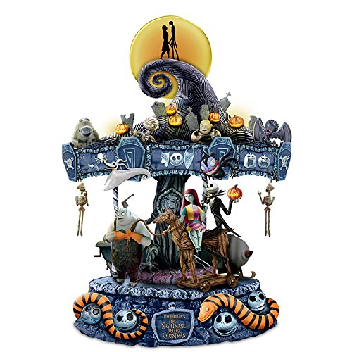 The Bradford Exchange Tim Burton's The Nightmare Before Christmas Rotating Musical Carousel Sculpture: Lights Up -