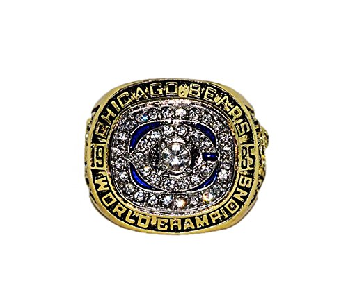 CHICAGO BEARS (William Perry) 1985 SUPER BOWL XX WORLD CHAMPIONS Vintage Rare & Collectible High Quality Replica Gold NFL Football Championship Ring with Cherrywood Display Box