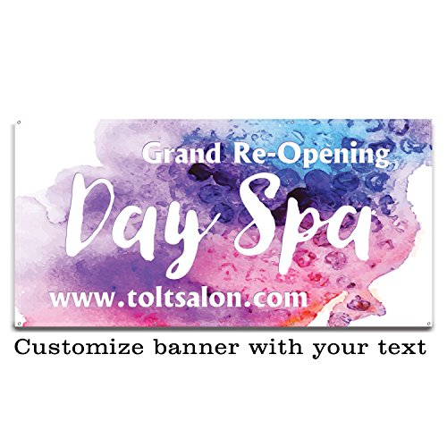 Buttonsmith Custom Watercolor Banner 6'x3' - Indoor/Outdoor - Personalize with Your Text - Designed, Printed, and Assembled in USA (Outdoor Banner Opening)