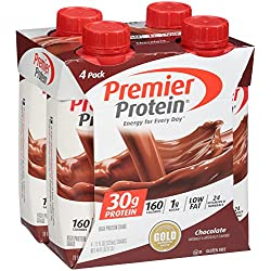Premier Protein 30g Protein Shake (Pack of 4 x 11 fl oz), Chocolate, 160 calories, 1g Sugar, Low Fat, 24 Vitamins & Minerals, 5g Carbs