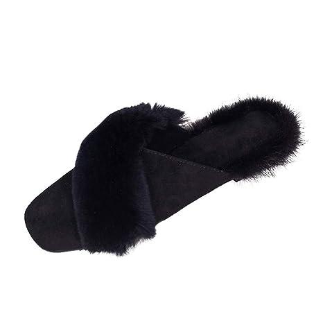 Zapatos de mujer Botas elegantes Botines Otoño invierno Cálido Antideslizante En Deslizadores Mullidos Piel sintética Zapatillas