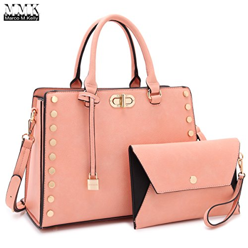 MMK collection Fashion Top handle Handbag(6669)~ Fashion Designer Satchel &Structured Purse~ClassicTote handbag~Briefcase bag with FREE Matching Coin Purse Set~Fashion Shoes bag - Designer Brands Top