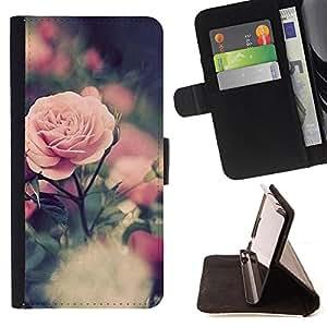 Pattern Queen - Rose Red Pink Flower - FOR Apple Iphone 6 - Funda de cuero ranuras para tarjetas de credito de la cubierta Flio tarjeta de la carpeta del tiron
