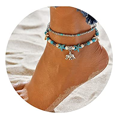 LANG XUAN Turquoise Turtle Anklet Multiple Layered Boho Gold Handmade Tree of Life Charm Anklet for Women