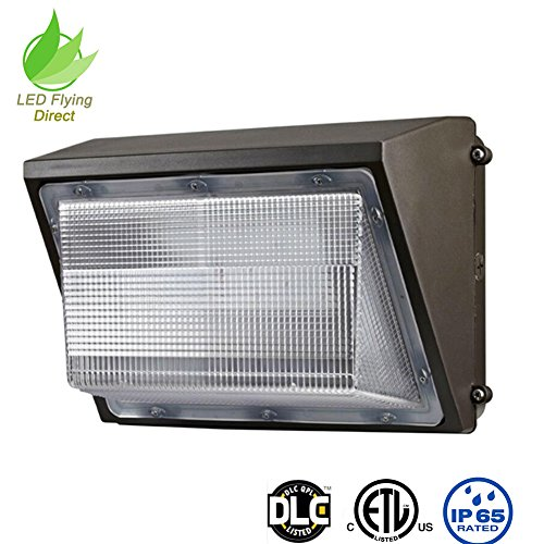 LED Flying Direct Glass Cover 100w LED Wall Pack Light, Security Light Outdoor LED Wallpack Lighting, 5000K Cool White, 11000 Lumens 400 Watt Equivalency ETL DLC (100 Watts)
