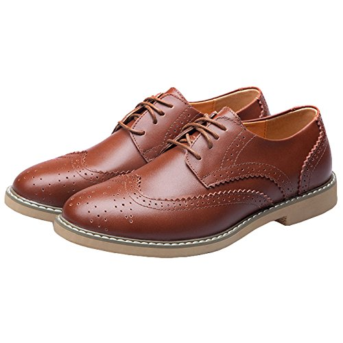 à Derby Formal Marron Red Lacets Rouge Business Wedding Groom RENHONG pour Oxford Marron Chaussures Homme Robe TSw66Pq0