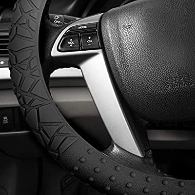 FH Group FH3002BLACK Black Steering Wheel Cover (Silicone W. Nibs & Pattern Massaging grip Wheel Cover Color-Fit Most Car Truck Suv or Van): Automotive