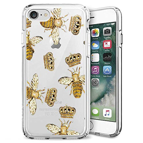 0a89fe0ab1 Clear Phone Case Compatible iPhone 7 8 Customized Queen Bee with Crown  Design by MERVELLE TPU