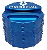 Phoenician Herbal Grinder - Large 4 Piece w/ Papers Holder - Blue with 2 Rolling Paper Depot Doobtubes