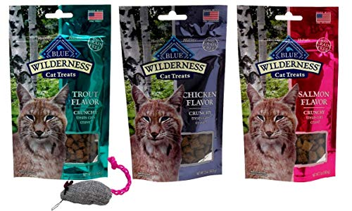 Blue Wilderness Grain Free Crunchy Treats for Cats 3 Flavor Variety with Toy Bundle, (1) Each: Trout, Chicken, Salmon (2…