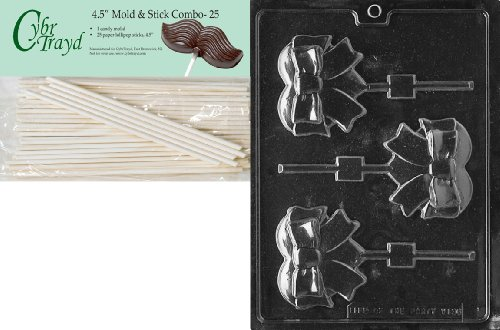 Cybrtrayd 45St25-V136 Heart with Bow Lolly Valentine Chocolate Candy Mold with 25 4.5-Inch Lollipop Sticks