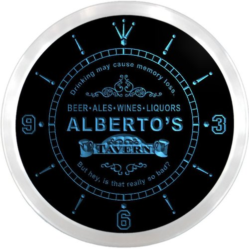 ncpx0270-b ALBERTO'S Tavern Wine Bar Ale Beer Pub LED Neon Sign Wall Clock