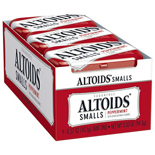 (ALTOIDS Smalls Peppermint Breath Mints, 0.37-Ounce Tin (Pack of 9))