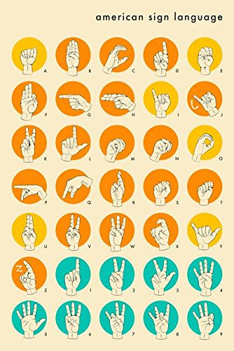 (Wall Art Print Entitled American Sign Language Hand Alphabet by Jazzberry Blue   16 x 24)
