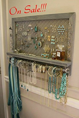 ON SALE You Get To Pick The Stain, Mosaic Mesh, Colonial Trim Series Wall Mounted Jewelry Organizer with Bracelet Bar, Necklace Holder by The Knotty Shelf