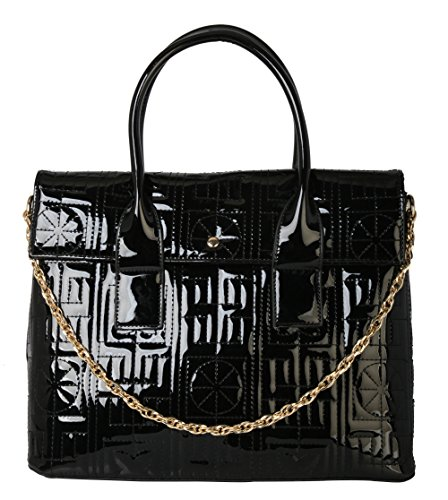 rimen-co-shiny-patent-pu-leather-floral-print-tote-womens-purse-handbag-lp-2508-black